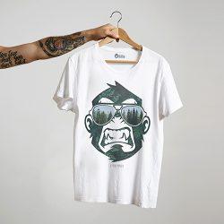 グリーン モンキー ホワイトTシャツ
