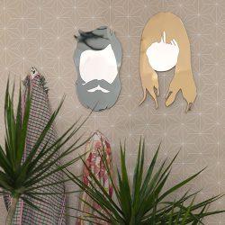 顔型 ポートレート 壁掛けミラー 4種類